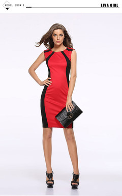 2019 Tight thin dress sexy Color matching sleeveless pencil skirt s red