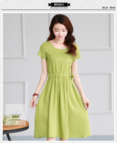 2019 New women's Fashion Retro literary cotton dress with short sleeves xl green