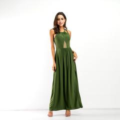2019  Women's Fashion sexy backless dress Pure color stitching split big yards dress 4xl green