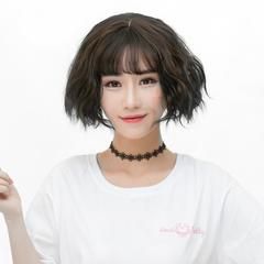 Girls Short Fluffy Hair Wig with Bangs Natural Looking Synthetic Hair Wig WS07/F2 Brownish Black Brownish Black one size