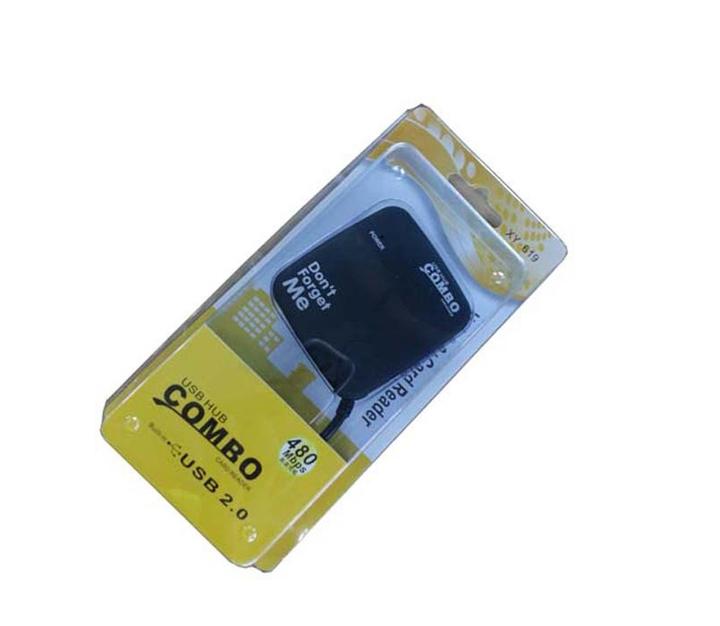 USB Hub Combo Card Reader[3  Port Hub 480 MBPS]-Black black