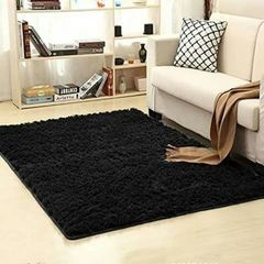 Fluffy Carpet - Black - Extremely Comfortable black normal