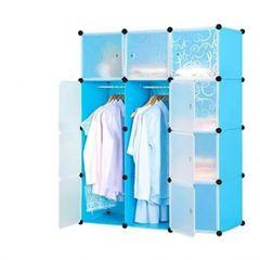 Plastic wardrobe - 3Column - Blue random