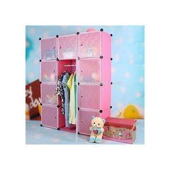 Plastic wardrobe - 3Column - Pink random