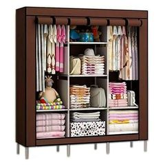 Portable Wardrobe - 3 Columns - 130*170*45 - Brown random