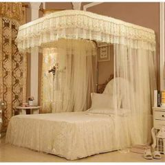 2 Stand Mosquito Net with Sliding Rail 6 by 6 - Cream cream