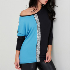 Ladies Blouses Off Shoulder Long Sleeve Shirt Sequined Patchwork Tunic Casual Loose Tops blue xl
