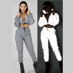 Women Reflective Tracksuit Night Version Buttons  Long Sleeve Crop Top + Casual Pants Two Piece Set gray xxl