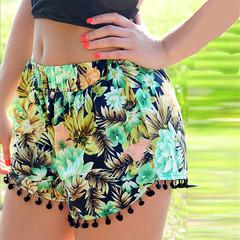 Women Casual Loose Shorts Bohemian Style Boho Balls Summer Hot Shorts Loose Bodybuilding Shorts green s