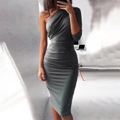 New Summer Bandage Dress Women Celebrity Sleeveless One-Shoulder Sequined Sexy Night Out Party Dress xl gray