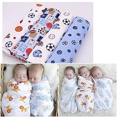 4Pcs Boys Newborn Swaddlers Cute receiving blanket multi purpose Baby Flannels cotton shawl blue one size
