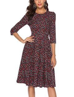 New 2019 Dress A-line Women Full Sleeve The dress party small broken flower Dresses Slim M 1