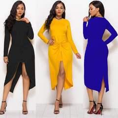 Women's Vintage Cross Sexy Irregular Hem long Sleeve Cocktail Party Dress 2019 Women Dress Female m 2