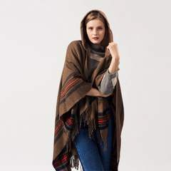 Ms thickening striped imitation jacquard cashmere shawl to wear to keep warm extended hooded cloak 2