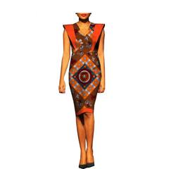 2019 New Summer Women african Dress Sexy Print Sleeveless Evening Party Slim Formal Club xxs 1