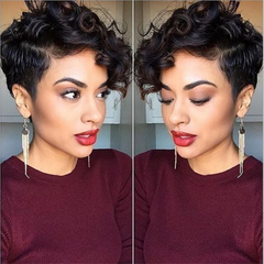 Wig Fashion Short Hair Handsome Lady Wig Black Hood Short Curly Hair black 1#