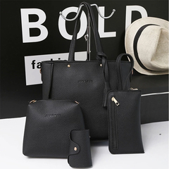 Fashion lady handbag shoulder bag mother buns mother bag four-piece tassel bucket bag black 26.5cm-24cm11cm