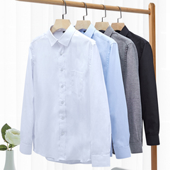 Men's Business Casual Shirt Long Sleeve Shirt Cotton Shirt White / Black / Blue / Gray / 80% Cotton white XXL(42)
