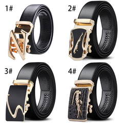 New automatic buckle belt men's belt scratch-resistant edging pants casual lychee pattern wild black 1# black 120cm