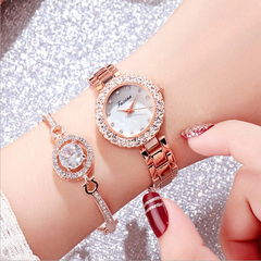 Women's Watch Set Bracelet Watch Two-piece Simple Watch Waterproof Quartz Watch champagne gold one size