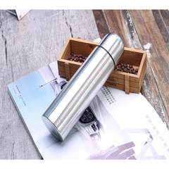 New high quality straight body vacuum flask stainless steel thermos cup silver 500ml silver 500ml
