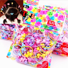 50pcs Mickey bag rubber band girl cartoon animal candy color headband hair ring... Random delivery