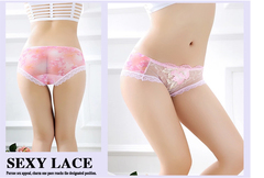 Explosive models sexy female peony embroidered boxer briefs transparent lace flower underwear pink one size