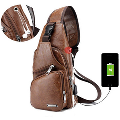 Brand Fashion Men's Bags USB Charging PU Sport Shoulder Leisure, Business Bags Brown 16*10*34cm brown 34*16*10
