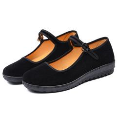 Women's shoes fashion classic work shoes, word buckle dance shoes, wear-resistant anti-slip black 40
