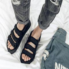 men sandals men shoes slippers casual flat sandals beach sandals for men open shoes summer Dual use black 41-42
