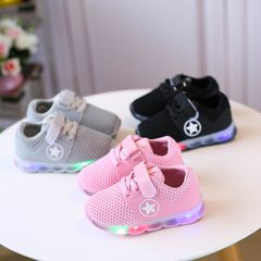 children's shoes LED Light up Shoes boys girls shoes sport baby shoes Luminous sneakers kids shoes Pink 25