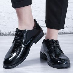 men shoes Fashion Business shoes Patent Leather PU Wedding Shoes Men Dress Shoes formal office shoes black 44 pu