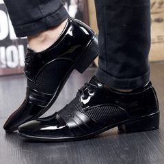 men shoes Fashion Business shoes Patent Leather PU Men formal Dress Shoes Breathable office shoes black 44 pu