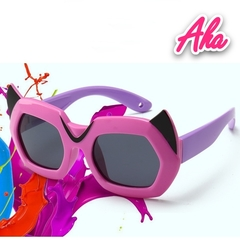 Kids Sunglasses Polarized Girls Cat Eye Children Glasses UV400 Baby Sun glasses Cute Eyewear Goggles black+red one size