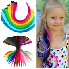 Colored Highlight Hair Extensions Clip In One Piece Color Strips 20