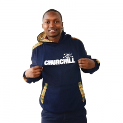 Churchill Branded Hood With Ankara Detail - Blue, M