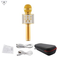 WS858 professional wireless microphone, speaker karaoke bluetooth wireless recording microphones as picture normal