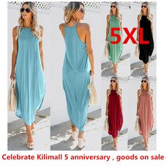 Dress Fashion Casual Spaghetti Strap Backless Sleeveless Long Dress maternity Plus Size 5XL xxxxxl green