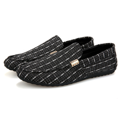 PROME 1 Pairs Men's Soft Leather Loafers Shoes Slip On Shallow Moccasins Flats Driving Shoes black 39