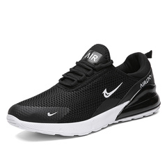 PROME Men's and Women's Air Cushion Shoes Breathable Sports Shoes Plus size Running Athletic Shoes black&white 39