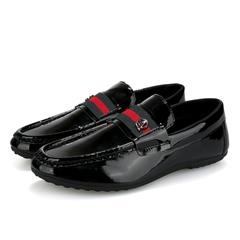 PROME 1 Pairs Soft Leather Loafers Men Shoes Slip On Shallow Moccasins Flats Driving Shoes black 39