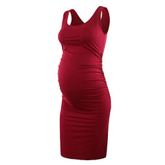 New round neck sleeveless vest solid color maternity dress comfortable maternity dress Red S