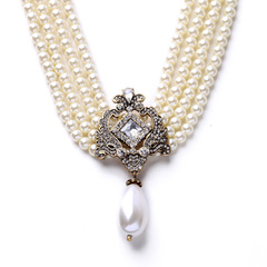 Exquisite fashion jewelry new multilayer joker lady's pearl necklace as picture one size