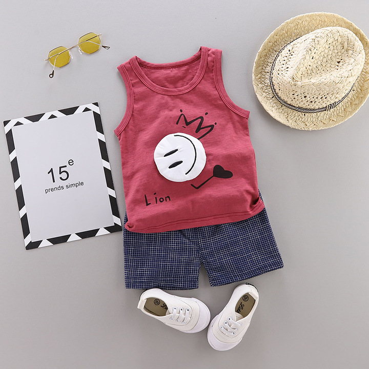 2019 the New Children's Clothing Male Baby Summer Wear Vest Suit Pure Cotton Wine Red 80cm cotton
