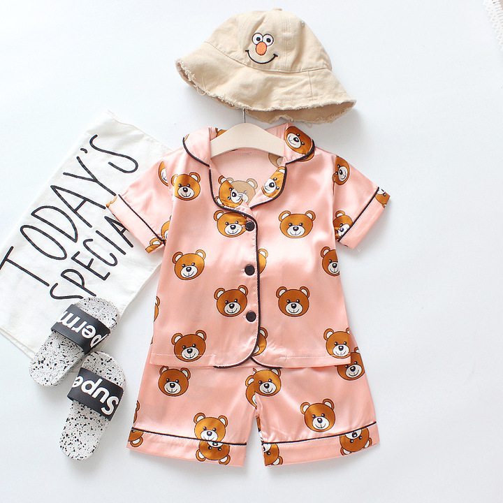 Boy's Household to Take the Baby PajamasThin Children Female Treasure to suit with short sleeves Pink 80cm cotton