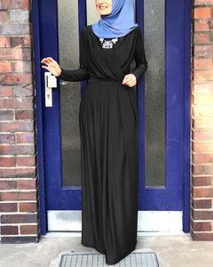 Muslim fashion luxury simple elegant long dress S black