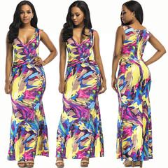 Sexy V-neck Digital pPrint Strap Dress Fashion Dress M as picture
