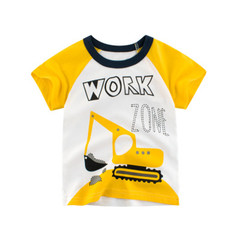 Children's Short-sleeved T-shirt Cotton Boy 2019 New Children's Clothing yellow 90cm cotton