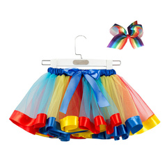 Mesh Rainbow Pettiskirt Children's Half Princess Skirts Send Bow Headdress Baby Dress a S