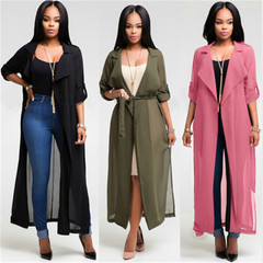 Fashion Long Sleeve Cardigan Chiffon Shirt Jacket 3 Colors Optional Fashion Ladies Gown black S